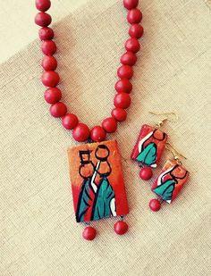 warli terracotta pendants Google Search Terracotta jewellery