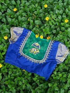 Royal Blue blouse with netted elephant back neck design
