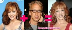 Celebrity Face Math (I have always thought that Kathy Griffin looked like Andy Dick plus Reba, and it looks like other people think that too!)