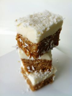 Healthy Lemon Coconut Cheesecake Bites! No-bake, so easy and taste unreal! These are guilt-free and are perfect use of greek yogurt! The bottom layer tastes like LARAbars!!! So good!!! A must make!