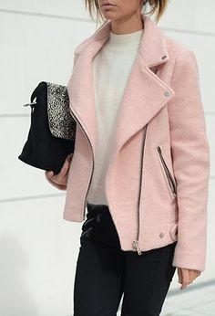 Short Biker Jacket - Pear perfect shape : close fitting over the small torso, with wide lapels to draw attention to the shoulders.