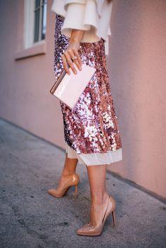 Skirt: tumblr midi sequins gold sequins sequin pumps pointed toe pumps high heel pumps nude heels