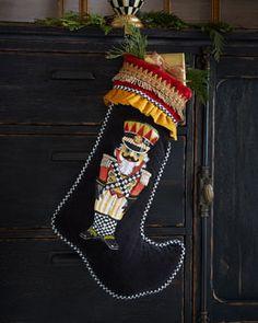 H7Y30 MacKenzie-Childs Nutcracker Christmas Stocking