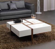 Modrest MH1316C Modern Walnut & White Square Coffee Table - Stylish Design Furniture