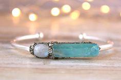 Moonstone Jewelry  Aqua Aura Bracelet  Gemstone Moonstone