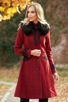 LaDonna best impulse elegant embroidered from wool with inside lining burgundy coat Product Label, Burgundy, Elegant, Coat, Womens Fashion, Long Sleeve, Fabric, Interior, Beast