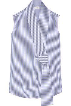 Victoria Beckham|Striped cotton-poplin top|NET-A-PORTER.COM