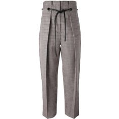 3.1 Phillip Lim origami pleat houndstooth trousers ($795) ❤ liked on Polyvore featuring pants, capris, brown, high waisted pants, origami pants, high waisted trousers, cropped capri pants and slim pants