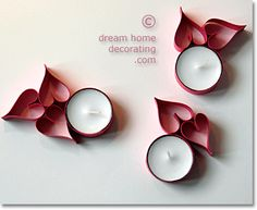 Make Valentine Table Decorations  From Tea Candles & Colored Card