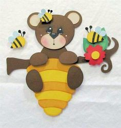 Quiet Book: bear and bee's Foam Crafts, Preschool Crafts, Crafts For Kids, Arts And Crafts, Paper Crafts, Diy Crafts, Baby Scrapbook, Scrapbook Paper, Bee Cards