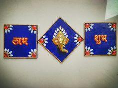 Subhlabh #subhlabh #rmpcreations #ganesha #diwalicollaction #mdf #kundanwork #jadatrwork #handmade #handwork #decor #homedecor Diy Diwali Gifts, Diwali Craft, Diwali Decoration Items, Thali Decoration Ideas, Art N Craft, Craft Work, Acrylic Rangoli, Door Hanging Decorations, Rakhi Design