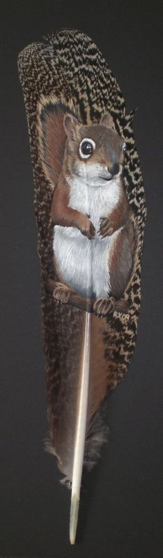 I've grown interested in painting on feathers. Its a new challange for me and this is my first try at painting an animal on a feather. The feather . Art Works, Gourd Art, Art Painting, Animal Art, Feather Art, Drawings, Painting, Art, Animal Paintings