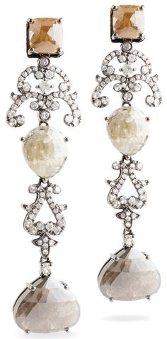 Bochic Champagne and smoky drop earrings