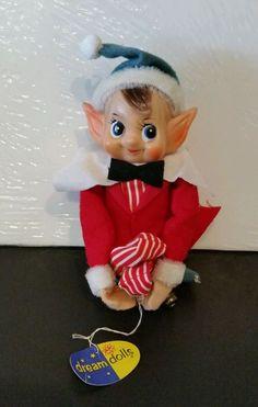 """SOLD  Vintage Dakin Red Christmas Peppermint  Dream Doll Knee Huggers Elf Japan 11"""""""