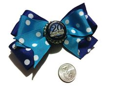 Blue Moon Hair Bows, Blue Moon brew, beer bows, bottle cap bows, gift ideas, bows for her, Summer Bows, Party Bows, Polka dot bows, Blue bow by bowsngifts on Etsy