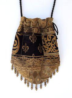Gypsy Bag with Brass Beads  Black and Gold Chenille Hippie Bag  Boho Bead Bag  Cross Body Bag. $40.00, via Etsy.