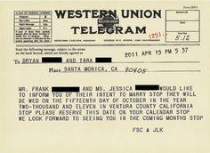 Vintage Post Office-inspired wedding invitations
