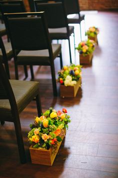 Ceremony Decor - Planter Aisle Markers - NC Wedding Planner - Full story found at: www.orangerieeven... & Photography by Perry Vaile Photography