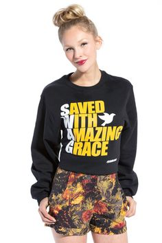S.W.A.G. -Saved With Amazing Grace Black Sweatshirt - JCLU Forever - 1