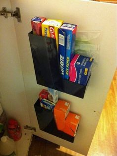 Super easy & useful! Magazine File to Store Bags, Foil, and Plastic Wrap   The Kitchn #organize