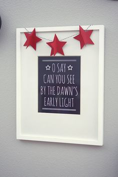 July 4th Print - Star Garland on a white frame