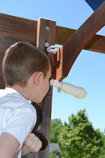 Homemade telescope for the playground with pvc piping...the kids LOVE it.