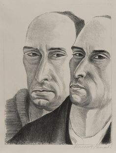"""""""Double Self-Portrait"""", 1923, Vincent Canade, American (1879-1961), lithograph on paper, 15 7/8 x 11 1/2 in. Museum purchase with funds from the Benefactors Fund, 1978. 1978.2531"""