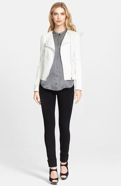 Armani Collezioni Leather Jacket, Blouse & Pants  available at #Nordstrom