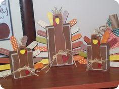 2x4 & paint stick turkeys