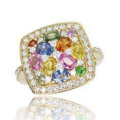 Jewellery - Ring - Effy Jewelers Multi Sapphire & Diamond Ring in 14K Yellow Gold