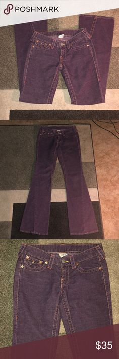 "Purple corduroy True Religion Joey 26 True Religion Joey corduroy flare pant. Gorgeous eggplant color. Very lightly pre-loved, no flaws to notate. Size 26 with 32"" inseam. True Religion Jeans Flare & Wide Leg"