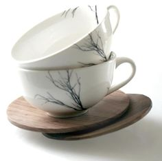 Tree Cup Set of 2 - Love Milo 2 porcelain tea cups + 2 hand carved wooden saucers  cups are dishwasher & microwave safe  wood can be treated with olive oil R400.00