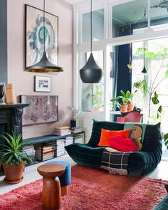Design and eclectic living room for Théo-Bert Pot with the togo velvet sofa and Tom Dixon lamp - Eclectic style: The Interior of Théo-Bert Pot – Clem Around The Corner inspiration deco bright a - Eclectic Living Room, Living Room Designs, Living Room Decor, Living Spaces, Art Deco Interior Living Room, Eclectic Lamps, Eclectic Design, Living Rooms, Tom Dixon Lampe