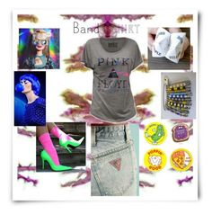 """contest entry I'm with the band #2"" by art-gives-me-life ❤ liked on Polyvore featuring Timorous Beasties, GUESS, Floyd, bandtshirt and bandtee"