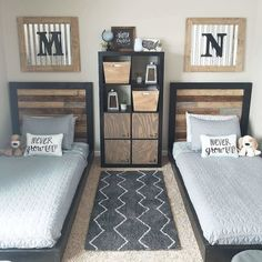 How to Build an Easy Twin Headboard and Platform Bed DIY – Boy Room 2020 Boys Bedroom Decor, Girls Bedroom, Boys Shared Bedroom Ideas, Ideas For Boys Bedrooms, Boys Room Ideas, Diy Bedroom, Bedroom Storage, Bedroom For Twins, Boy Bedroom Designs