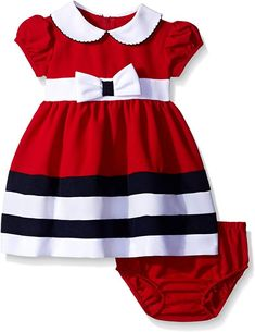 Bonnie Baby Peter Pan Collar Nautical Dress and Panty Set, Red, Months. Nautical dress and panty set with peter pan collar and bow. Back zipper. Girls Dress Up, Frocks For Girls, Little Girl Dresses, Baby Dress, The Dress, Dress Red, Fashion Kids, Fashion Bra, Babies Fashion