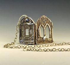 The Ruins - outside view by Christi Anderson Richly carved four sided book pendant with a poem written by my daughter on the inside. Richly carved four sided book pendant with a poem on the inside. Metal Clay Jewelry, Jewelry Art, Jewelry Design, Metal Necklaces, Metal Jewellery, Art Necklaces, Artisan Jewelry, Handmade Jewelry, Unique Jewelry