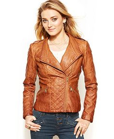 GUESS? Quilted Faux-Leather Moto Jacket