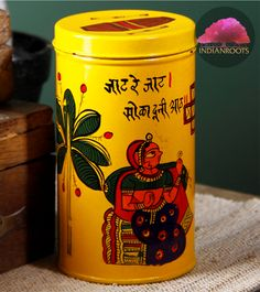 Phad painted tin cookie box by The India Craft House on Indianroots.com