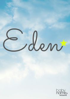 """Eden: Meaning, origin, and popularity of the name. A picture of paradise gives Eden a heavenly feel, which comes from a word that means """"delight"""". Eden has ancient sensibilities coupled with a perfectly modern sound. It feels like a biblical, feminine answer to the popular boys' name Aiden."""