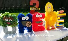 """Paper Mache """"Customized Letters"""" for Omere's Sesame Street birthday Party."""