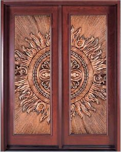 Gorgeous Copper Insert with a Stunning 3D Embossed Design in Wooden Double Doors