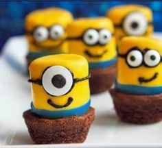 Despicable Me minion cupcake topper.  Maybe a birthday treat for the eldest minion to take to school