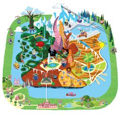 Map I created for Zootopia. Ricky De Los Angeles and I designed the characters to populate the map. A lot of these elements have been used later to create various merchandise and products for the movie. This map also set the style for the book George McClements and I illustrated later.
