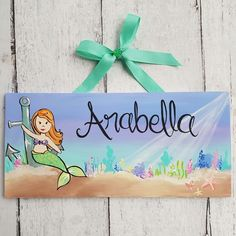 NEW! A sweet name sign for your little mermaid lover! The hair colour is completely customizable ♡