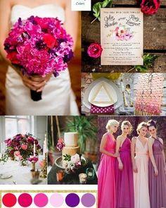 Já pensou misturar tons na festa de casamento? No lugar de duas cores fixas você pode escolher uma paleta degradê e valorizar essa mistura.