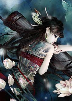 Asian beauty, Asian art illustration, Asian girl, tattoo floral women Artist Xiao Bai oriental music instrument