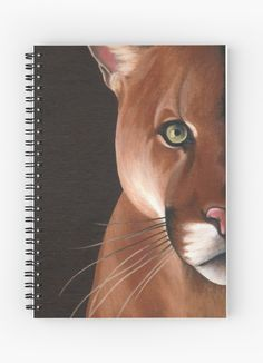 Puma Spiral Notebook by @savousepate on @redbubble #cougar #puma #wildcat #feline #animal #brown #painting #notebook #journal #stationery