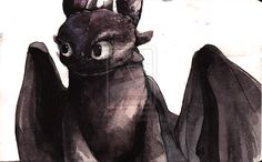 Toothless Watercolour... again by Dreamsoffools.deviantart.com on @deviantART