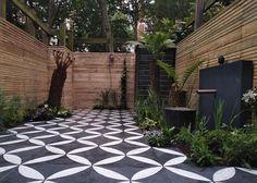 Backyard Landscaping Ideas: Decorative garden tiles - Little Piece Of Me Garden Spaces, Outdoor Decor, Garden Tiles, Outdoor Tile Patio, Small Space Gardening, Modern Garden, Modern Garden Design, Modern Courtyard, Patio Tiles